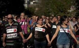 Manifestation de salariés de Fagor le 18 octobre 2013.