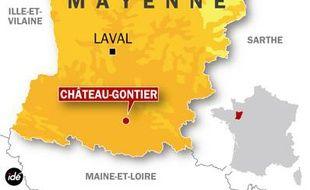 Carte de la Mayenne. Localisation de Château-Gontier.