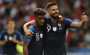 Kingsley Coman et Olivier Giroud lors de France-Albanie, le 8 septembre 2019 au Stade de France.