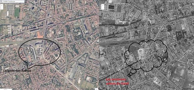 Vue du quartier toulousain des Arènes aujourd'hui et dans les années 1950-1965.