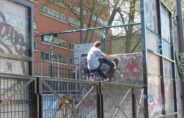Sam Partaix, à l'entraînement, skatepark du quai des Jemmapes, (10ème).