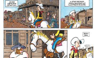 Aperçu d'une planche de Choco-Boys, aventure de Lucky Luke imaginée par Ralf König.
