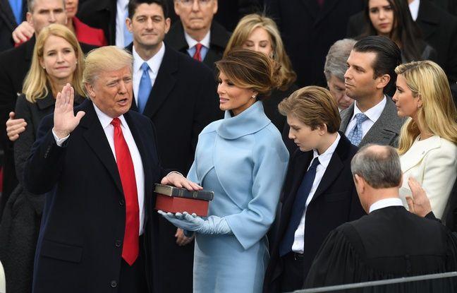 Donald Trump prête serment lors de son investiture vendredi 20 janvier à Washington.