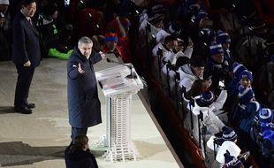Le président du CIO Thomas Bachs durant la cérémonie d'ouverture des Jeux olympiques d'hiver en Corée du Sud, le 9 février 2018.