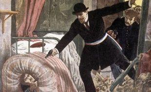 Enroulé dans un matelas, Jules Bonnot tombe sous les balles de la police à Choisy-le-Roi, le 28 avril 1912 (gravure dans le supplément illustré du Petit Journal).