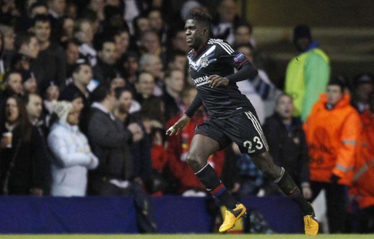 Le Lyonnais Samuel Umtiti, le 14 février 2013 contre Tottenham, à Londres. – IAN KINGTON / AFP
