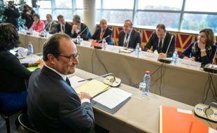 Le président François Hollande à l'ouverture de la  quatrième conférence sociale le 19 octobre 2015 à Paris
