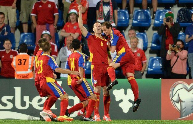 Ildefons Lima ouvre le score sur penalty contre le pays de Galles, le 9 septembre 2014 à Andorre-la-Vieille. Les Gallois finiront pas s'imposer grâce à un doublé de Gareth Bale.
