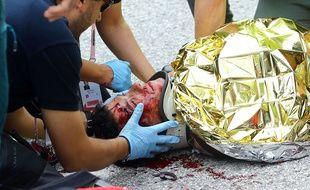 Domenico Pozzovivo a été victime d'une lourde chute sur le Tour d'Italie, le 11 mai 2015.