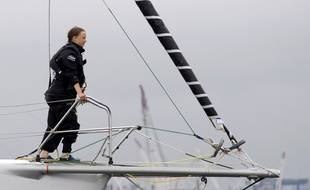 Greta Thunberg sur le Malizia II, bateau sur lequel elle avait embarqué cet été pour se rendre aux Etats-Unis.