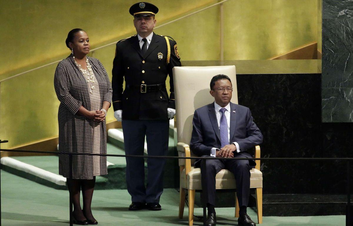 Le président malgache Hery Rajaonarimampianina avant son discours à l'ONU le 22 septembre 2016.  – Richard Drew/AP/SIPA