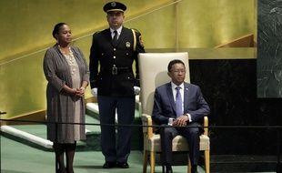 Le président malgache Hery Rajaonarimampianina avant son discours à l'ONU le 22 septembre 2016.
