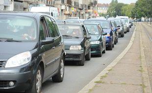 (Illustration) Des embouteillages en centre-ville de Nantes.
