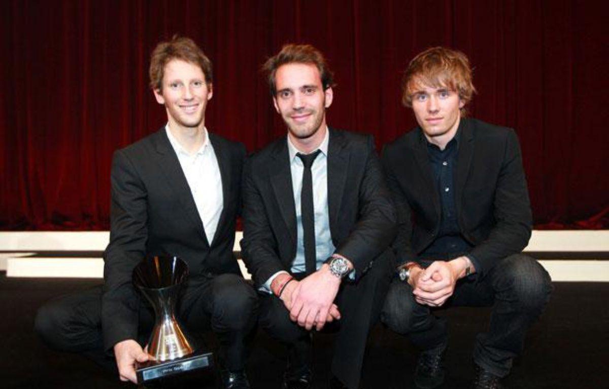 Romain Grosjean, Jean-Vergne et Charles Pic (de gauche à droite), le 17 décembre 2012 à Paris. – PARIENTE JEAN-PHILIPPE/SIPA