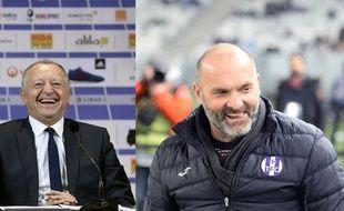 Jean-Michel Aulas, le président de l'OL, et Pascal Dupraz, l'entraîneur du TFC.