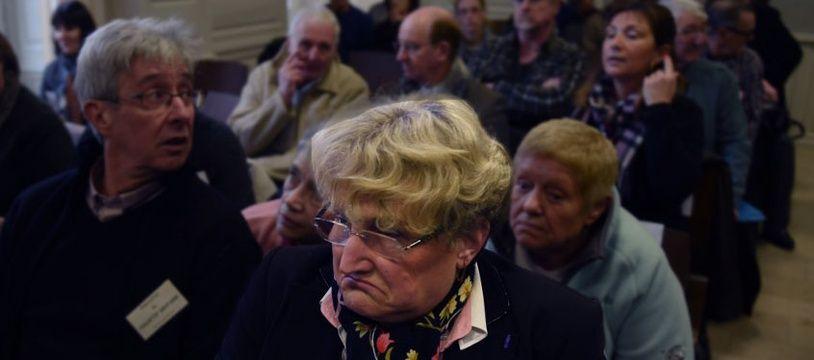 Nicole Martin (au premier plan) au tribunal correctionnel de Nevers, lors du procès de Jacobus Van Nierop, en avril 2016.