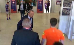 Damien Comolli, le président du TFC, en colère contre le corps arbitral à l'issue du match d'accession contre le TFC Nantes (capture écran).