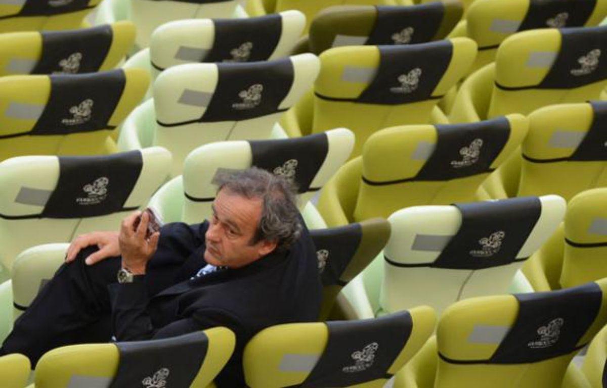 Michel Platini, au terme du match de l'Euro Espagne-Italie à l'Arena de Gdansk le 10 juin 2012. – PATRIK STOLLARZ / AFP