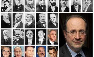 Montage en date du 6 mai 2012 de portraits de François Hollande et de ses prédécesseurs à l'Elysée