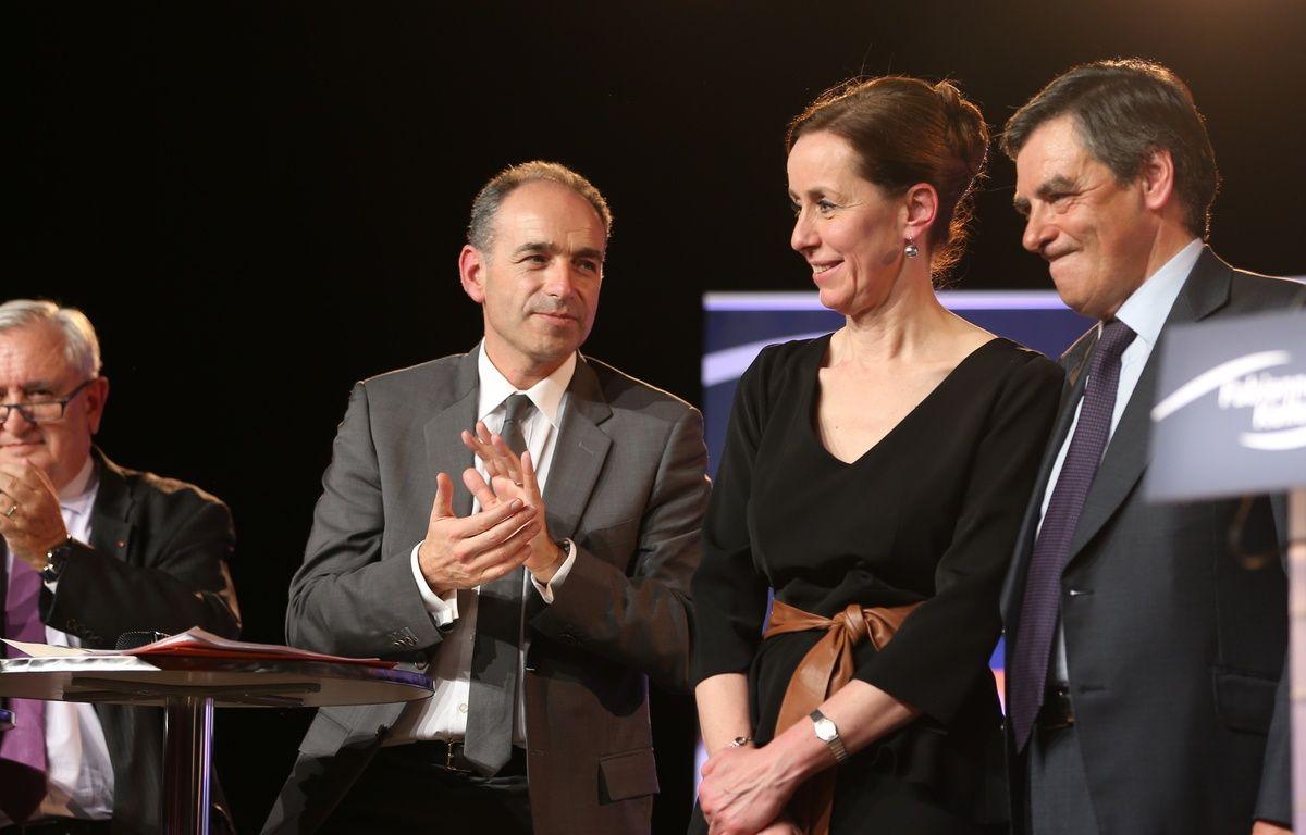 Strasbourg le 05 03 2014.  Meeting Fabienne Keller avec Francois Fillon Jean-Francois Copé et Jean-Pierre Raffarin. Municipales 2014 à Strasbourg. – Varela
