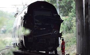 Photo du TER après l'accident survenu le 17 août 2016 près de Saint-Aunès, dans l'Hérault