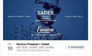 Le rappeur Sadek était programmé dans le cadre du festival Freeeeze à Metz ce week-end.