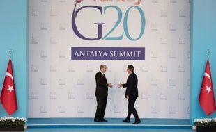 Le Premier ministre britannique David Cameron (d) et le président turc Recep Tayyip Erdogan, le 15 novembre 2015 à Antalya