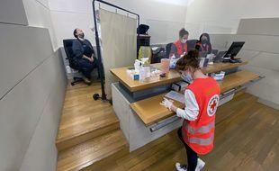 La brigade de la Croix-Rouge lors de son intervention au tribunal judiciaire de Nice, le 23 février 2021.