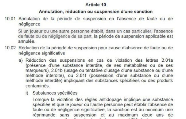 Le règlement antido dopage de l'UEFA.