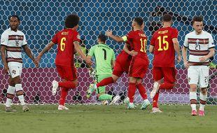 Thorgan Hazard ouvre le score pour la Belgique.
