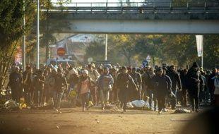 Des migrants courent pour traverser la frontière entre la Slovénie et l'Autriche depuis la ville slovène de Sentilj le 3 novembre 2015