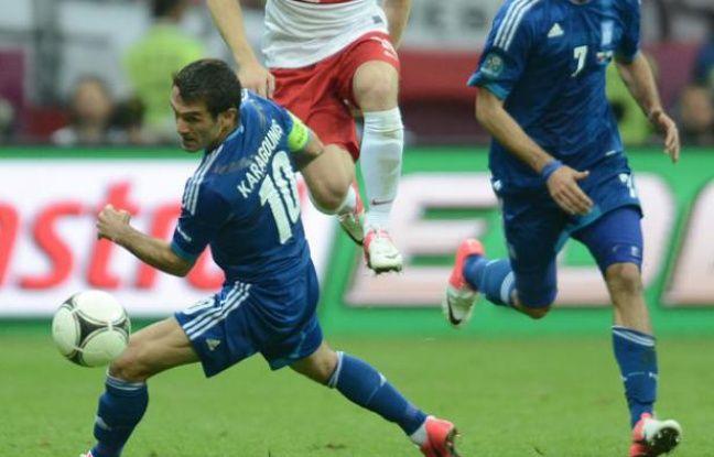 Le capitaine de la Grèce Giorgos Karagounis pendant le match de l'Euro contre la Pologne le 8 juin 2012.