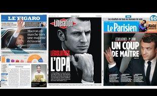 Des unes des journaux du 12 juin 2017 après le carton de La République en Marche aux législativse.
