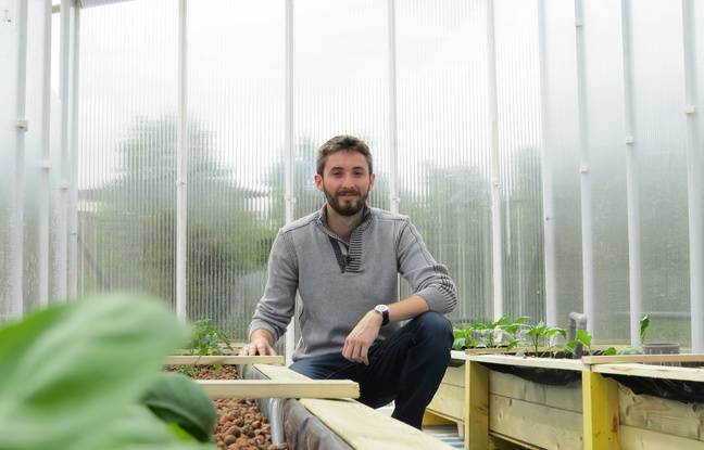 Pierre Osswald de la start-up toulousaine Citizen farm à l'étage de la ferme urbaine installée au jardin Raymond VI.