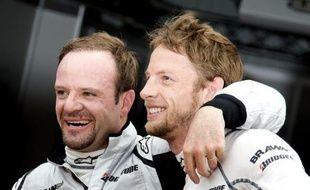 Les pilotes de l'écurie Brawn GP, Rubens Barrichello (à gauche) et Jenson Button lors du Grand Prix de Monaco, le 23 mai 2009.