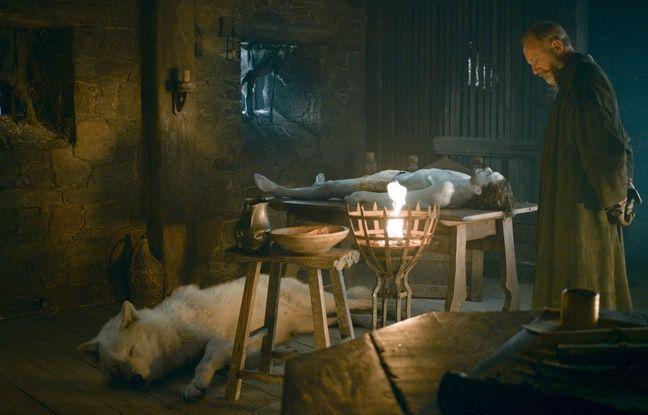 Le loup Fantôme veille son maître Jon Snow dans la saison 6 de Game of Thrones