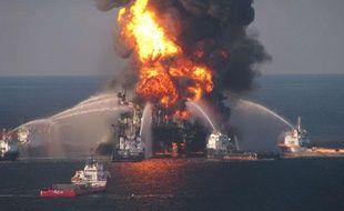 La plateforme Deep Water Horizon exploitée par BP dans le Golfe du Mexique, le 21 avril 2010.