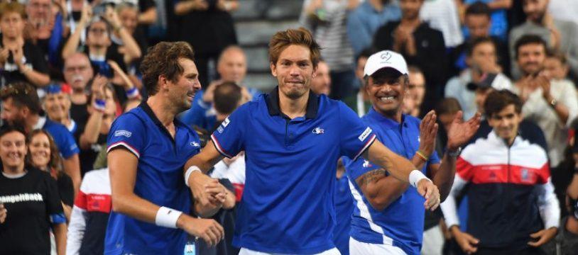 La joie des Français après leur victoire en demi-finale de la coupe Davis