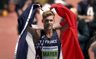 Le français Kevin Mayer sacré champion du monde en salle d'heptatlon à Birmingham le 3 mars 2018.