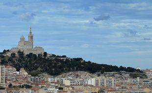 This photo taken on April 23, 2016 shows a view of the Notre-Dame de la Garde church in Marseille.  / AFP PHOTO / BORIS HORVAT