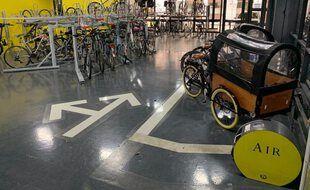 Le nouvel espace vélo aménagé à Lyon au sein du parking Cordeliers.