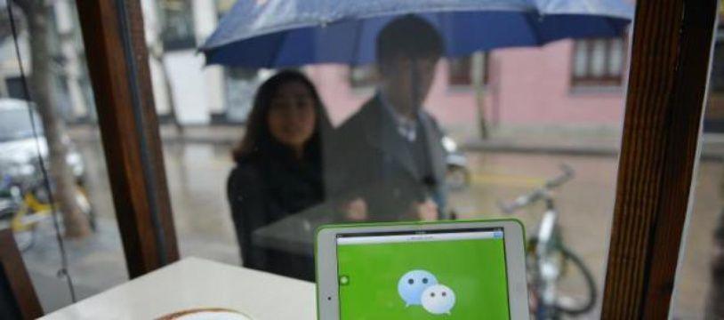 Le logo de l'application de messagerie WeChat, du géant chinois de l'internet Tencent, sur un ordinateur à Pékin le 12 mars 2014