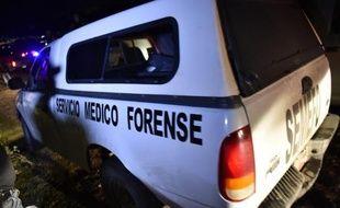 Une voiture de médecin légiste quitte le site d'une fosse clandestine où ont été retrouvés des corps à Pueblo Viejo, au Mexique, le 4 octobre 2014