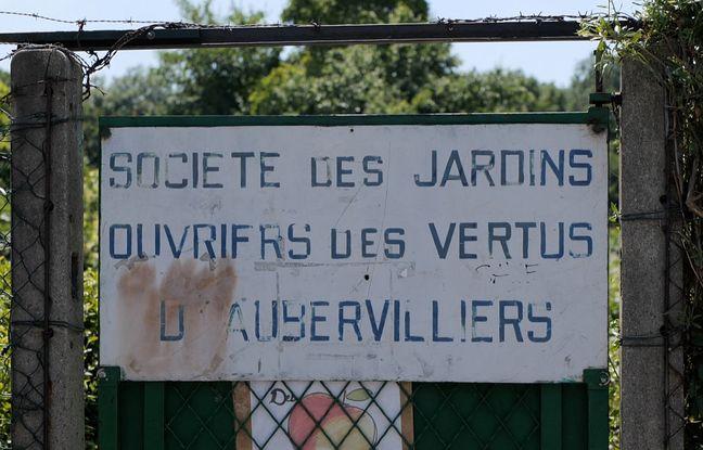 Entrée des Jardins ouvriers des Vertus à Aubervilliers en Seine-Saint-Denis - Le 09 juin 2021