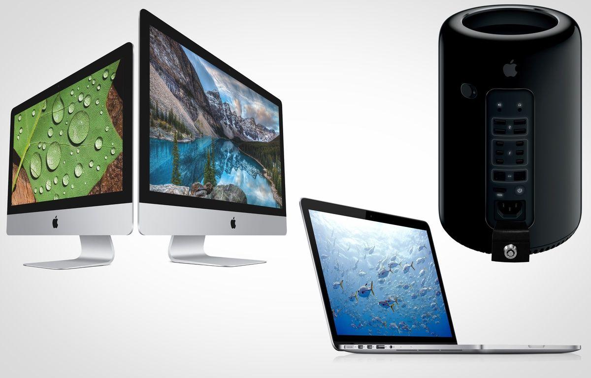 Des ordinateurs Apple: l'iMac 4K (2015), le Macbook Pro (2015) et le Mac Pro (2013) – APPLE