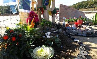 Hommage à Rémi Fraisse sur le site du barrage de Sivens.