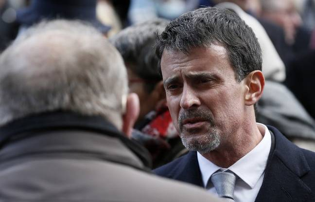 Manuel Valls à l'hommage aux victimes du Bataclan le 13 novembre 2011, à Paris.