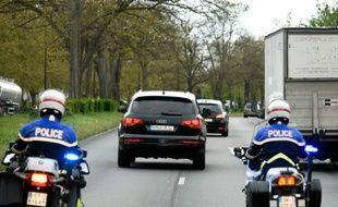Un convoi transportant Salah Abdeslam à la prison de Fleury-Mérogis, le 27 avril 2016