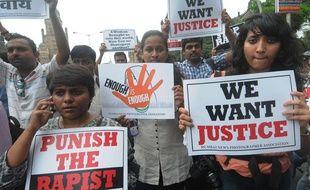 Manifestation après le viol collectif d'une jeune photojournaliste, le 24 août 2013 en Inde.