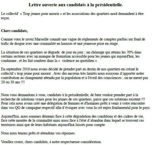 La lettre envoyée aux candidats à la présidentielle.